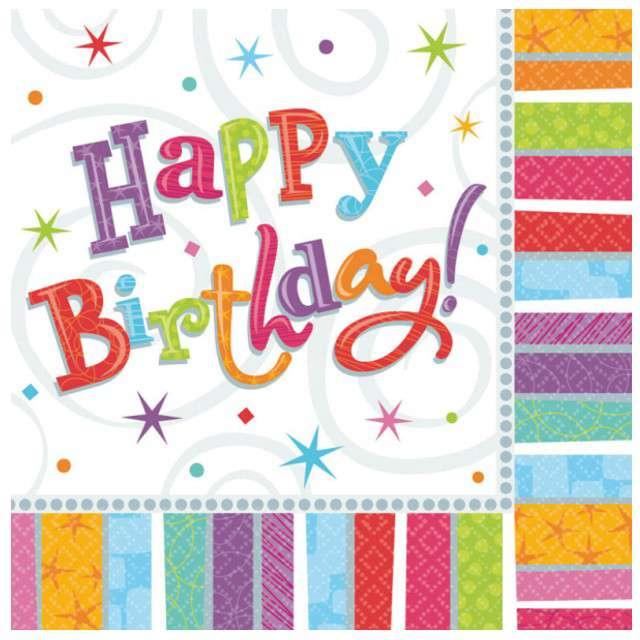"""Serwetki """"Happy Birthday Radiant"""", 33 cm, AMSCAN, 16 szt"""