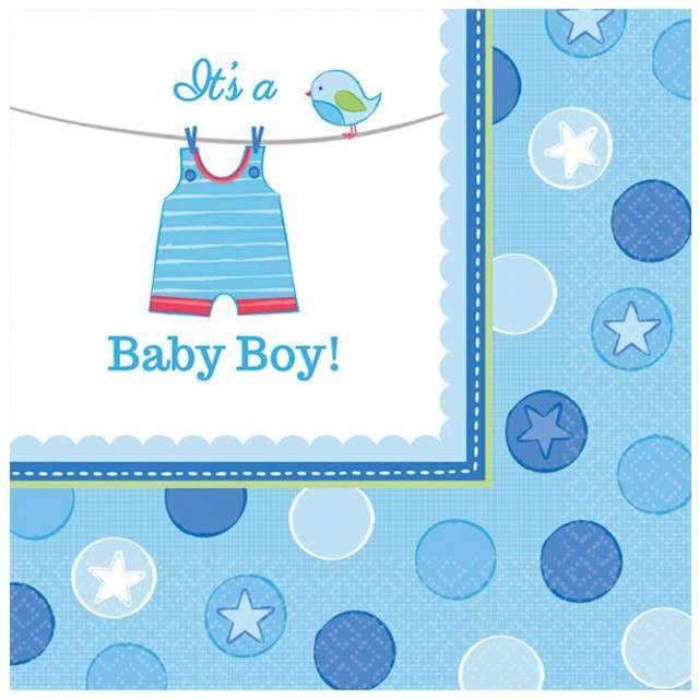 "Serwetki ""Baby Shower Boy"", AMSCAN, 33 cm, 16 szt"