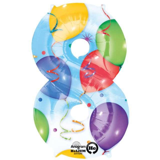 "Balon foliowy cyfra 8, 34"", baloniki"