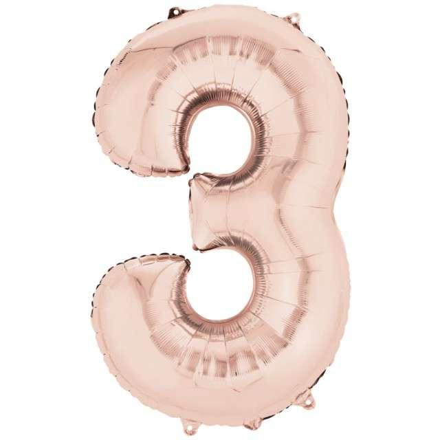 """Balon foliowy cyfra 3, 34"""", szampański"""