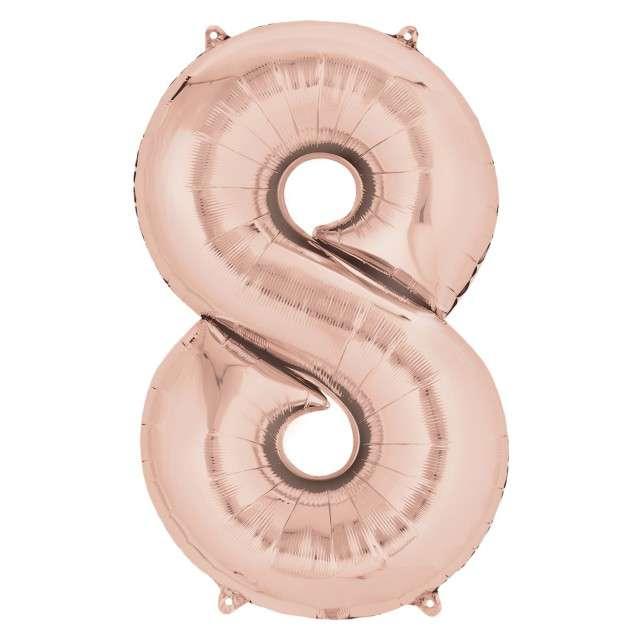 """Balon foliowy cyfra 8, 34"""", szampański"""