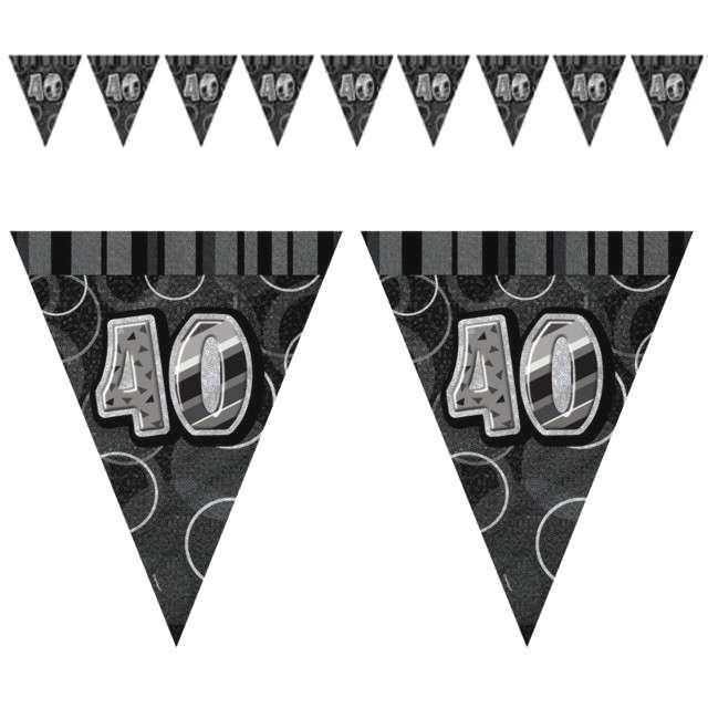 """Baner flagi """"Urodziny 40 Glitz Black"""", czarny, 2,74 m"""