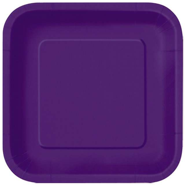 """Talerzyki papierowe """"Kwadrat Classic S"""", fioletowe ciemne, 18 cm, 16 szt"""