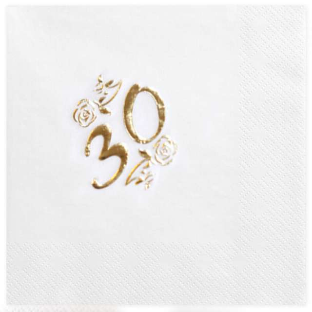 """Serwetki """"30"""", White Gold, GAJO, 20 szt"""