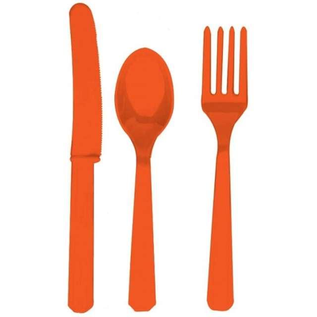 Sztućce plastikowe, zestaw, AMSCAN, pomarańczowe, 24 szt