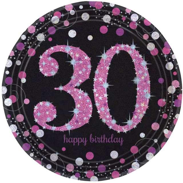 """Talerzyki papierowe """"30 Urodziny - Sparkling Celebrations Pink"""", AMSCAN, 23 cm, 8 szt"""