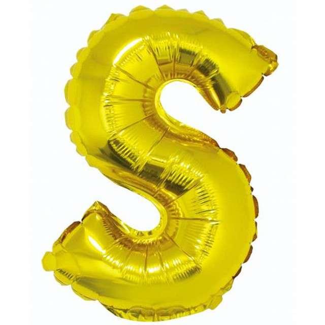"""Balon foliowy litera S, 14"""", GODAN, złoty"""