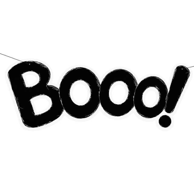 "Baner ""Booo!"", czarny, 68cm"