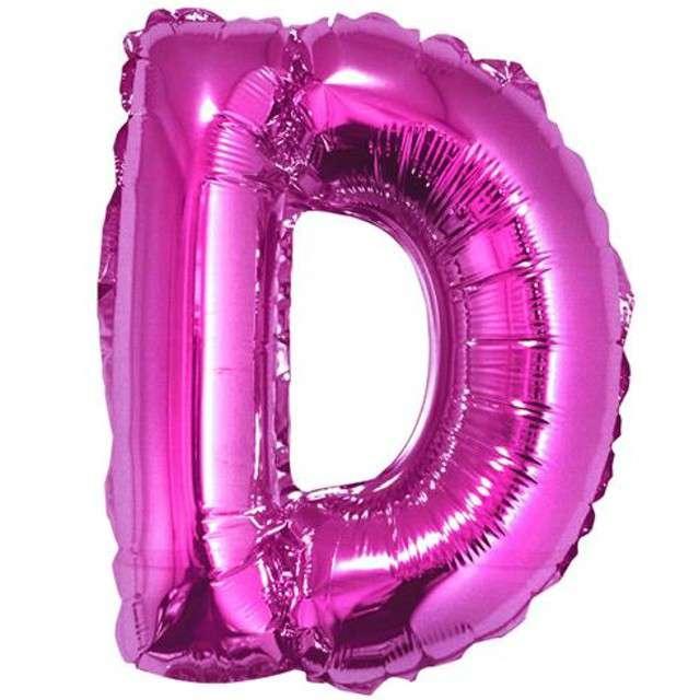 """Balon foliowy litera D, 14"""", GODAN, różowy"""