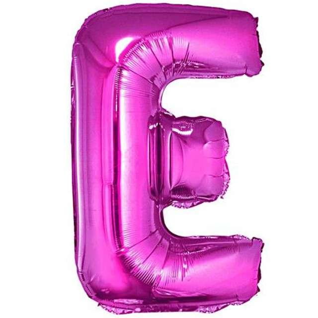 """Balon foliowy litera E, 14"""", GODAN, różowy"""