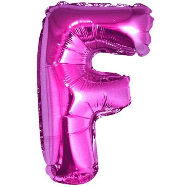 """Balon foliowy litera F, 14"""", GODAN, różowy"""