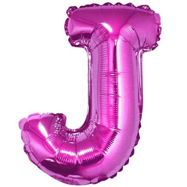"""Balon foliowy litera J, 14"""", GODAN, różowy"""