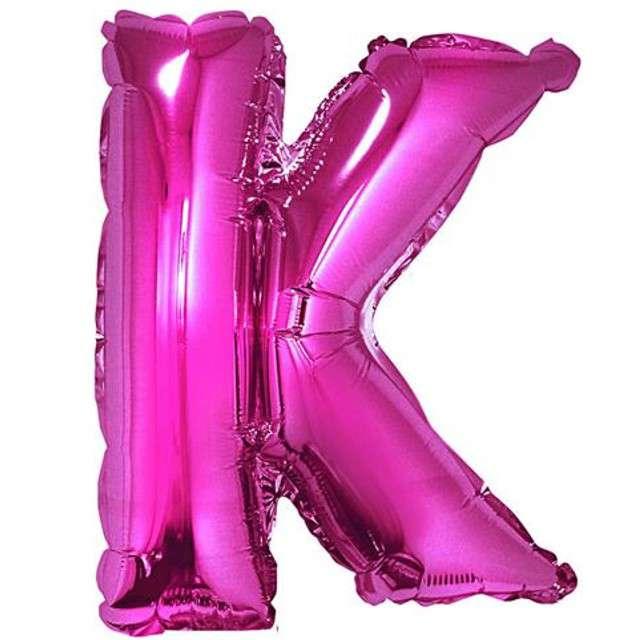 """Balon foliowy litera K, 14"""", GODAN, różowy"""