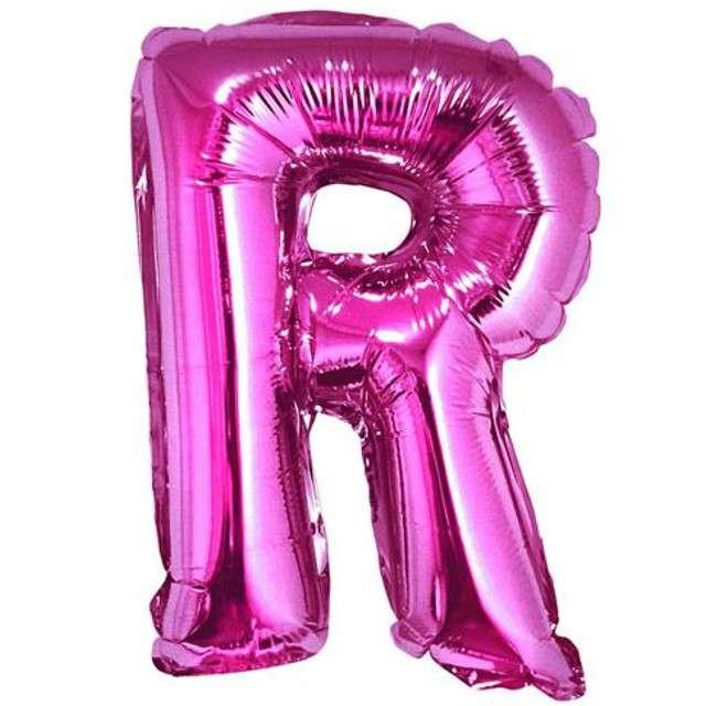 """Balon foliowy litera R, 14"""", GODAN, różowy"""