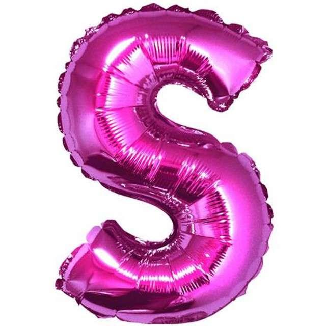 """Balon foliowy litera S, 14"""", GODAN, różowy"""