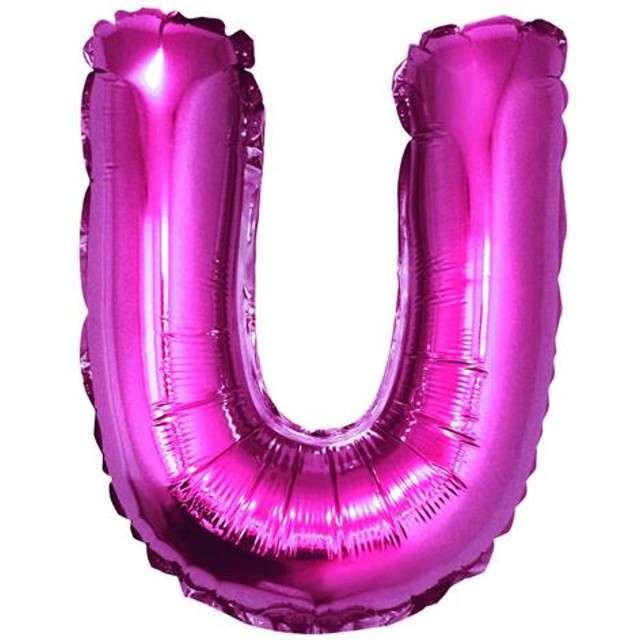 """Balon foliowy litera U, 14"""", GODAN, różowy"""