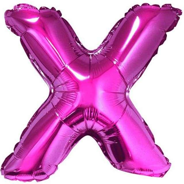 """Balon foliowy litera X, 14"""", GODAN, różowy"""