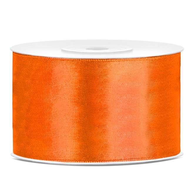 Tasiemka satynowa, pomarańczowa neonowa, 38 mm / 25 m