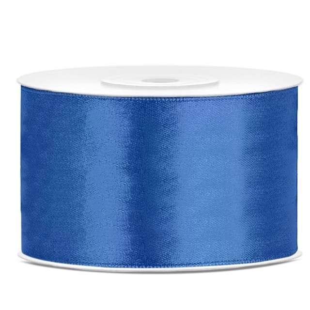 Tasiemka satynowa, niebieska kobaltowa, 38 mm / 25 m