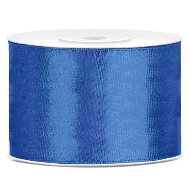 Tasiemka satynowa, niebieski kobaltowy, 50 mm / 25 m
