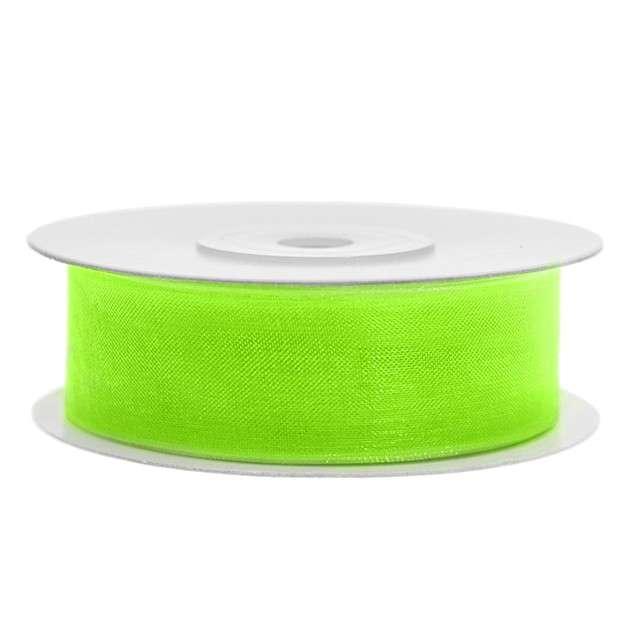 Tasiemka szyfonowa, zielona neonowa jasna, 19 mm / 25 m