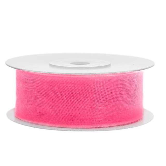 Tasiemka szyfonowa, różowa neonowa jasna, 25 mm / 25 m