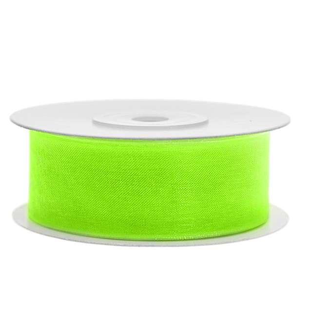 Tasiemka szyfonowa, zielona neonowa jasna, 25 mm / 25 m