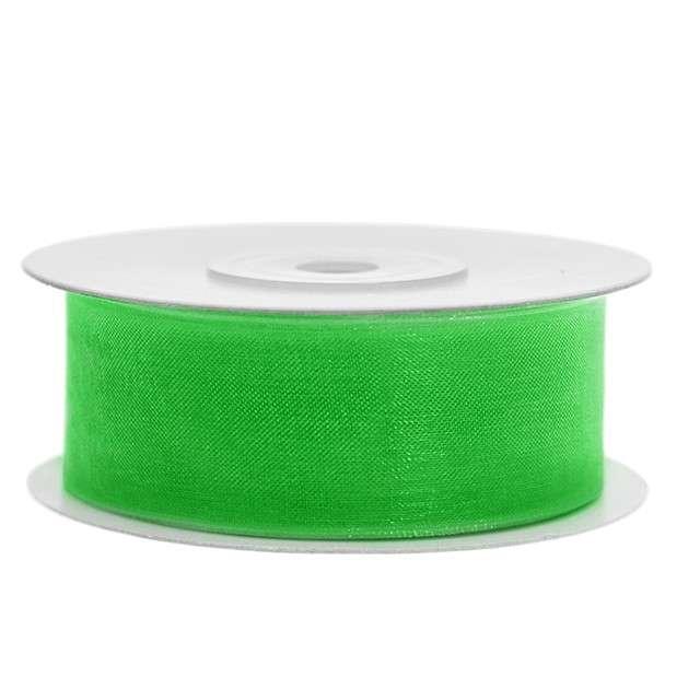 Tasiemka szyfonowa, zielona koniczyna, 25 mm / 25 m