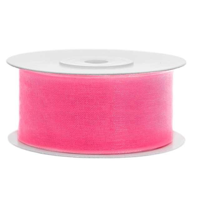 Tasiemka szyfonowa, różowa neonowa jasna, 38 mm / 25 m