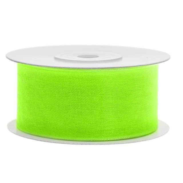 Tasiemka szyfonowa, zielona neonowa jasna, 38 mm / 25 m
