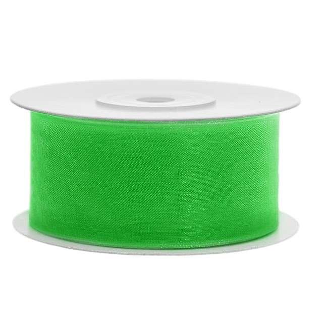 Tasiemka szyfonowa, zielona koniczyna, 38 mm / 25 m