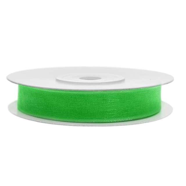 Tasiemka szyfonowa, zielona koniczyna, 6 mm / 25 m