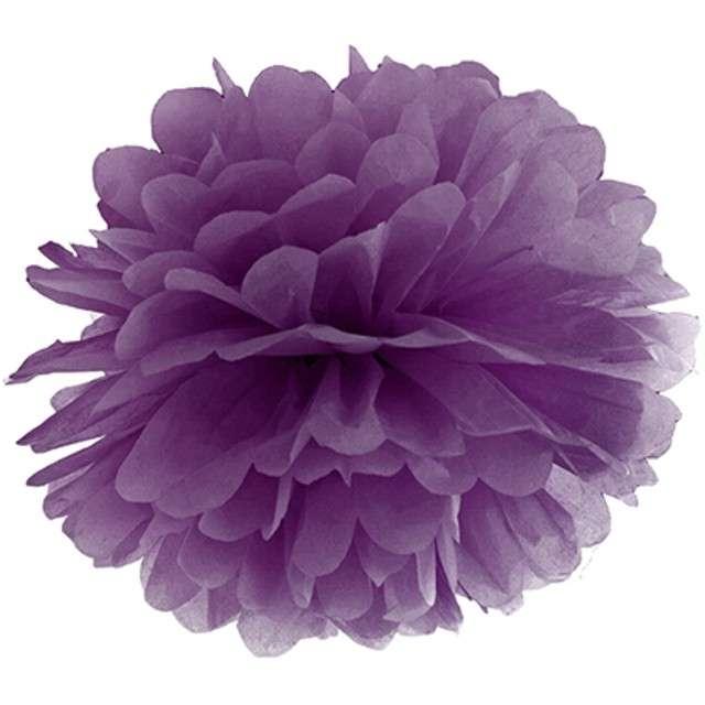 """Pompon bibułowy """"Classic"""", purpura, PartyDeco, 35 cm"""