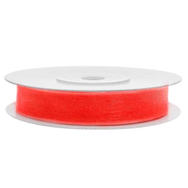 Tasiemka szyfonowa, czerwona neonowa, 6 mm / 25 m