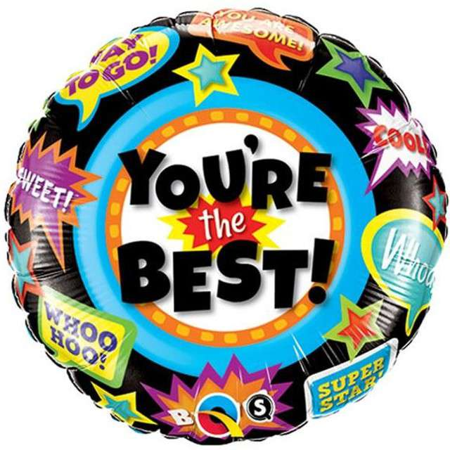 "Balon foliowy ""You Are The Best"", QUALATEX, 18"" CIR"