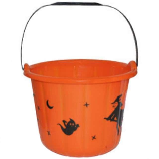 """Wiaderko na cukierki """"Halloween XL"""", pomarańczowe, 23 cm"""