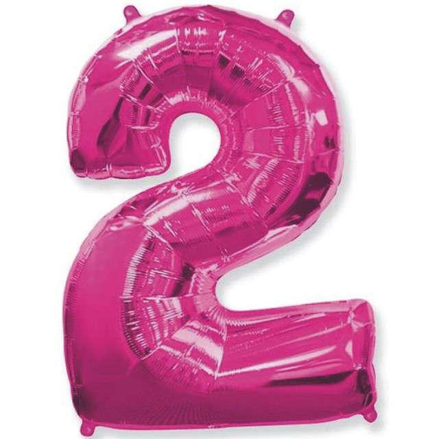 """Balon foliowy cyfra 2, różowy, FLEXMETAL, 40"""""""