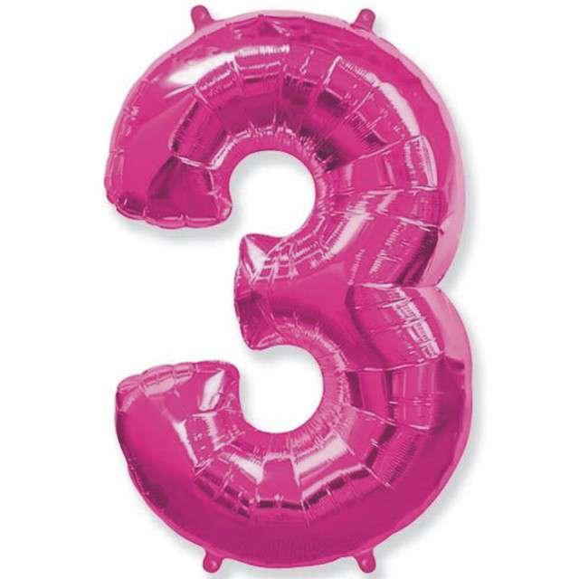 """Balon foliowy cyfra 3, różowy, FLEXMETAL, 40"""""""