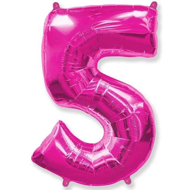 """Balon foliowy cyfra 5, różowy, FLEXMETAL, 34"""""""