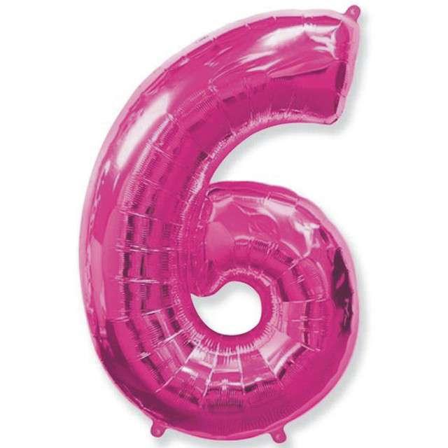 """Balon foliowy cyfra 6, różowy, FLEXMETAL, 40"""""""