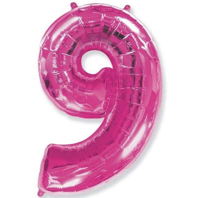 """Balon foliowy cyfra 9, różowy, FLEXMETAL, 40"""""""