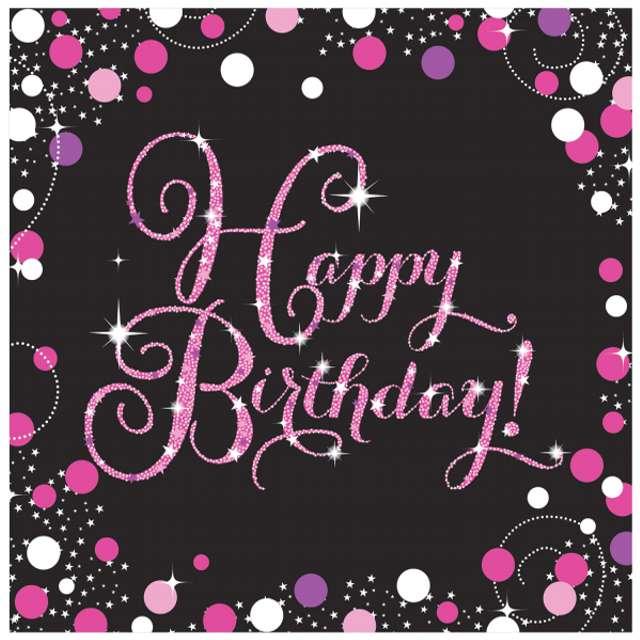 "Serwetki ""Happy Birthday - Sparkling Celebrations Pink"", AMSCAN, 33 cm, 16 szt"