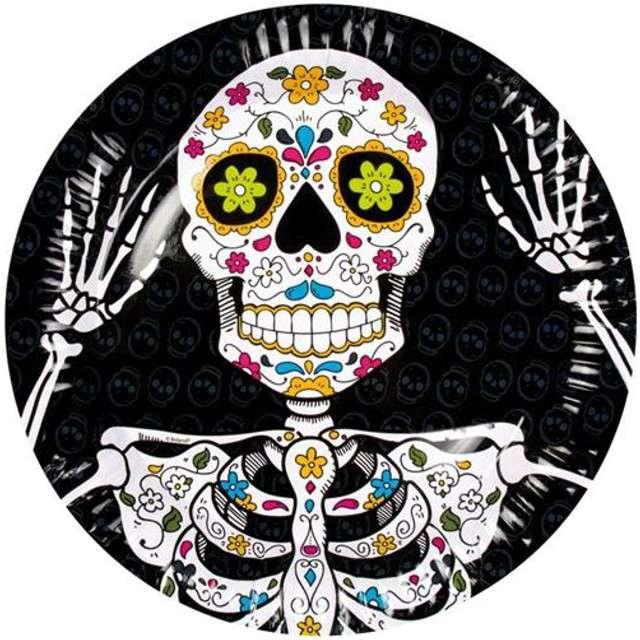 """Talerzyki papierowe """"Halloween Day of The Dead"""", BOLAND, 23 cm, 6 szt"""