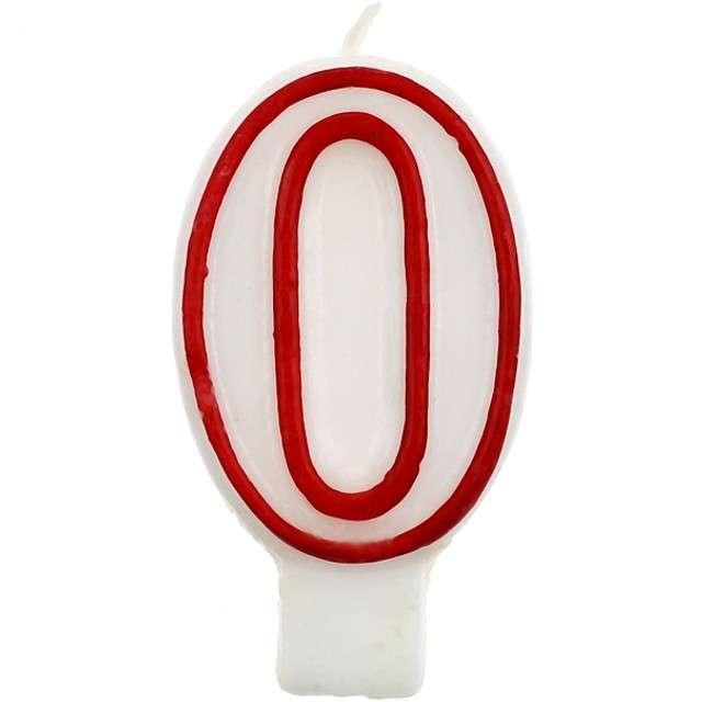 """Świeczka na tort """"0"""", GODAN, czerwony kontur, 7 cm"""