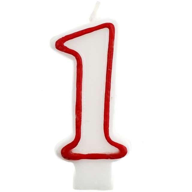 """Świeczka na tort """"1"""", GODAN, czerwony kontur, 7 cm"""