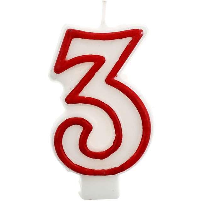 """Świeczka na tort """"3"""", GODAN, czerwony kontur, 7 cm"""