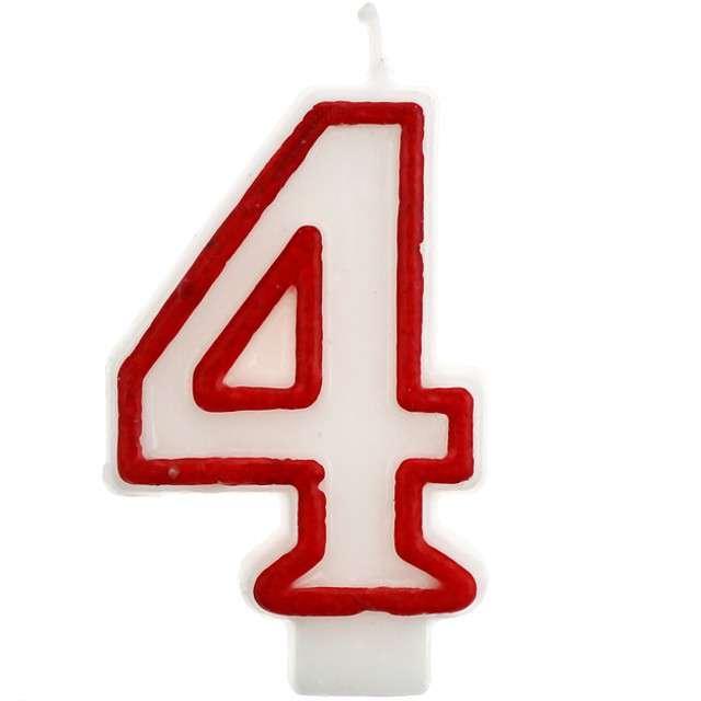 """Świeczka na tort """"4"""", GODAN, czerwony kontur, 7 cm"""