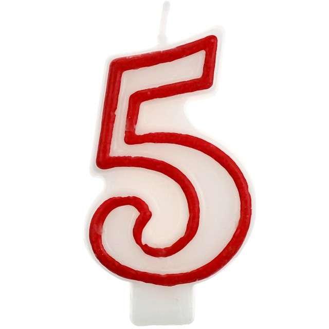 """Świeczka na tort """"5"""", GODAN, czerwony kontur, 7 cm"""
