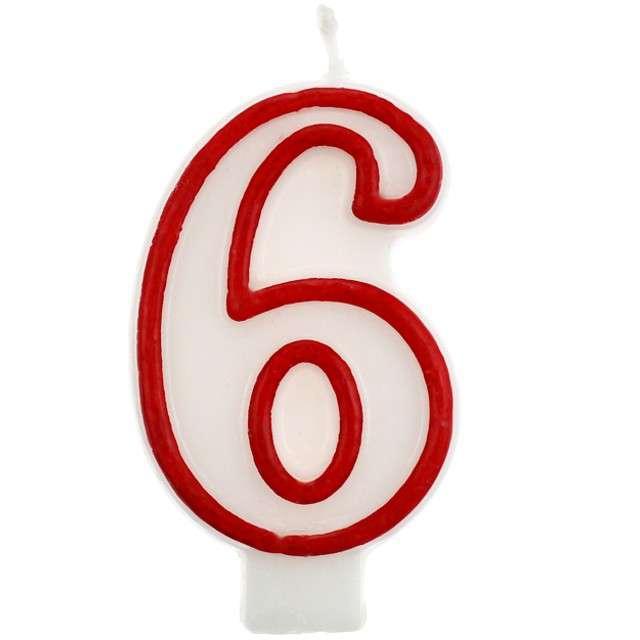 """Świeczka na tort """"6"""", GODAN, czerwony kontur, 7 cm"""