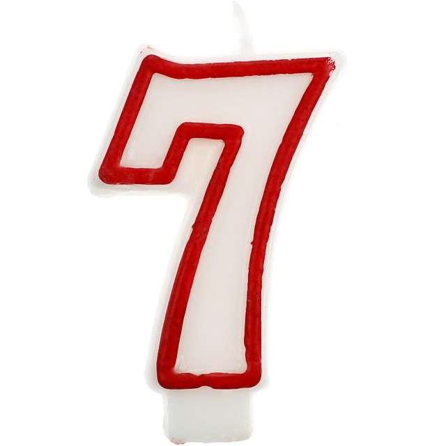 """Świeczka na tort """"7"""", GODAN, czerwony kontur, 7 cm"""